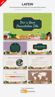 Whet your audience's appetite with this free template for your PowerPoint and Google Slides presentations. Watercolor illustrations of fresh ingredients give it a close and homey look. Use this creative template to share your best recipes, plan your restaurant menu or give a talk on healthy eating. Powerpoint Themes, Menu Restaurant, Watercolor Illustration, Presentation Templates, Real Food Recipes, Healthy Eating, Illustrations, Fresh, How To Plan