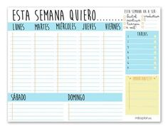 Resultado de imagen para organizador semanal Bullet Journal Notes, Bullet Journal 2019, Book Journal, Journal Ideas, Agenda Planner, Happy Planner, Printable Planner, Printables, School Calendar