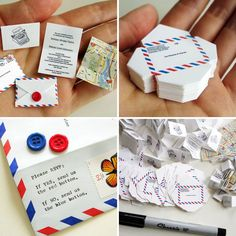 TINY IS WEIRD, BUT I LOVE AIRMAIL AND BUTTONS!! Tiny Airmail Wedding Invitations   25 Creative Invitations