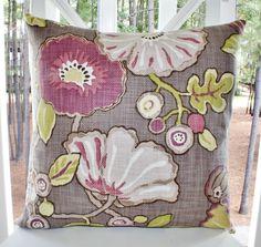 Decorative Designer Pillow - 20 x 20 Purple Magenta Citron Floral Pillow - Plum Purple Throw Pillow. $48.00, via Etsy.