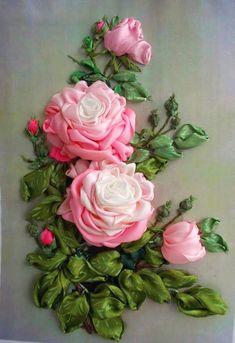 Wonderful Ribbon Embroidery Flowers by Hand Ideas. Enchanting Ribbon Embroidery Flowers by Hand Ideas. Ribbon Embroidery Tutorial, Silk Ribbon Embroidery, Embroidery Stitches, Embroidery Designs, Embroidery Kits, Machine Embroidery, Ribbon Art, Diy Ribbon, Ribbon Crafts