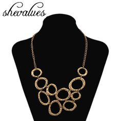 Shevalues Women's Bohemian Antique Gold Geometric Oval Loop Pendant Bib Statement Choker Necklace Ethnic Gypsy Collar Necklace //Price: $US $2.74 & FREE Shipping //      #cheap_jewelry