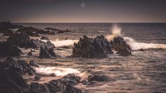 Explosive Elements - A long exposure, landscape image of waves breaking on rocks off the coast of Sandend in Aberdeenshire, Scotland, at sunset.  This is the last in my series from Sandend. I hope to go back to the area very soon to shoot some more from slightly further afield.
