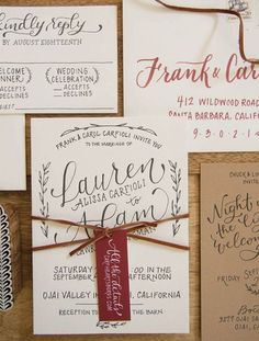 stylish rustic chic wedding invitations/ vintage wedding invitations