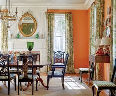 James T Farmer - traditional dining room - photo: Emily Followill - orange walls