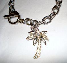 Palm Tree with Crystal Pave Accents Rolo Charm Bracelet + FREE shipping!