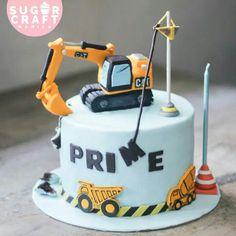 Toddler Birthday Cakes, Birthday Party Desserts, Baby Birthday Cakes, Boy Birthday, Digger Birthday Cake, Digger Cake, Construction Theme Cake, Construction Birthday, Excavator Cake