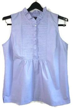 0d407e6617132 Details about LANDS  END Small S 6-8 Ruffle Top Sleeveless Lavender Purple  Cotton Blouse