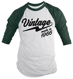 Shirts By Sarah Men's Vintage Made In 1966 50th Birthday Raglan Retro 3/4 Sleeve Shirts