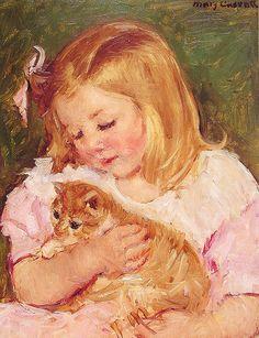 Sara che tiene un gatto di Mary Cassat