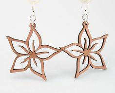 Plumerias - Laser Cut Earrings from Reforested Wood - Green Tree Jewelry