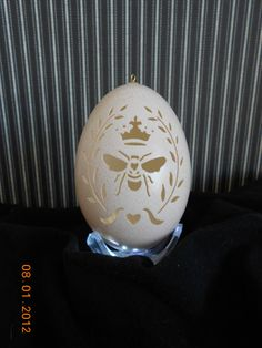 Carved Egg Queen Bee Ornament