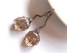 Contemporary jewelry wire jewelry beige glass by ArtemisFantasy