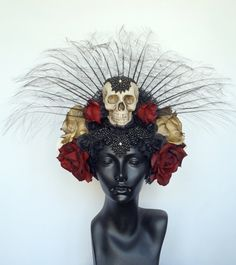CUSTOM ORDER Day of the Dead Skull & Flower Headdress