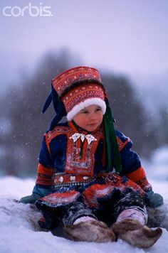Sami child in traditional costume Lapland Finland We Are The World, People Around The World, Folk Costume, Costumes, Swedish Girls, Lappland, Folk Clothing, Scandinavian Countries, My Heritage