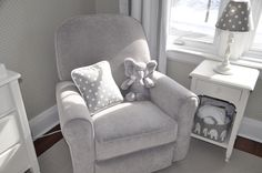 Perfect grey chair and elephants for the baby's room. Love the polka dots too! Nursery Grey, Grey Chair, Elephants, Baby Room, Armchair, Polka Dots, Furniture, Home Decor, Bebe