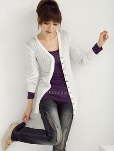 $11.99 Long Sleeve Pure Color Brass Button Cardigan Sweater at Online Apparel Store Gofavor