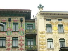 Majolica House (left) by Otto Wagner. Vienna, 1899. My favorite example of art nouveau in Vienna.