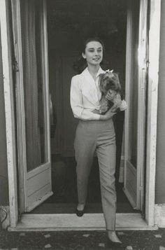 Audrey Hepburn photographed with Mr. Famous