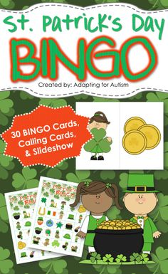 St. Patrick's Day BINGO: Includes 30 unique BINGO Cards, 1/2 page printable calling cards and a slideshow for use on an interactive whiteboard or with a projector. #adaptedgame {Created by Adapting for Autism}