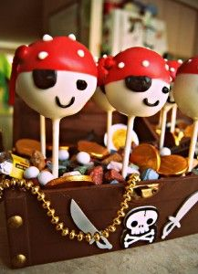 Cake pop pirate birthday party ideas.  See more pirate and birthday parties for kids at www.one-stop-party-ideas.com