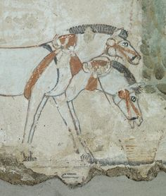 Nebamun Tomb. Fragment of a limestone tomb-painting representing the assessment of crops