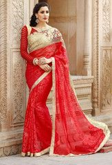 Red Color Brasso Festival & Function Wear Sarees : Urvashi Collection  YF-40530