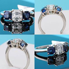 Wonderful 1.53ct Asscher cut diamond flanked by a pair of emerald cut sapphires set in a substantial platinum setting