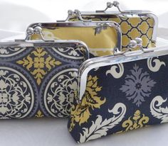 mustard and graphite bridesmaids clutches