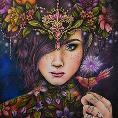 Fantasy - 2018 - my first picture #hannakarlzon #sommarnatt #adultcoloring #prismacolor #facecoloring #flowers #mistic #fantasy