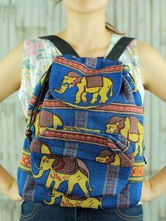 Navy Blue Elephant Abstract tribal native backpack/ Ethnic rucksack/ holiday bag /Hippie / Boho/ Folk / gypsy / handwoven/ tapestry bag