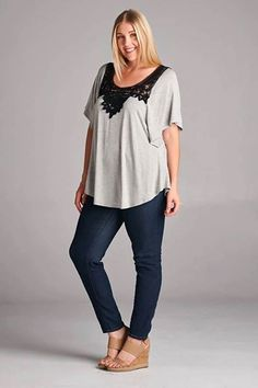 Grey with black lace detail top in plus size, find more in our boutique on Facebook