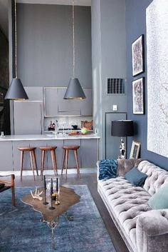 dusky blue tones __ Kelly Martin Interiors - Blog - I Got the Blues ***** blue, grey, interior design, home, decor, bedroom, bath, kitchen, living room, dining, modern, mid century modern, contemporary, eclectic, naturalistic, industrial, white, lighting, table, bed, scandinavian, transitional, color