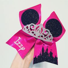 Hot Pink Disney Castle Tiara personalized cheer bow Disney Headbands, Disney Bows, Big Cheer Bows, Big Bows, Silver Tiara, Cheer Gifts, Mickey Ears, Diy And Crafts, Hot Pink