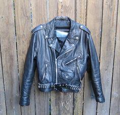 Vintage Black Rugged Leather Motorcycle Jacket by Trustfund21, $175.00