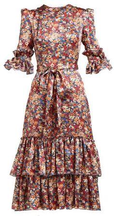 Beautiful The Vampire's Wife Veneration floral-print silk-charmeuse midi dress Womens Dresses from top store Boho Dress, Dress Skirt, Wrap Dress, The Vampires Wife, Look Fashion, Womens Fashion, Silk Charmeuse, Silk Satin, Stunning Dresses