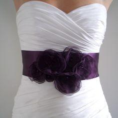Bridal Sash Belt AUBERGINE  Dark Eggplant Purple by BridalShoppe, $99.00