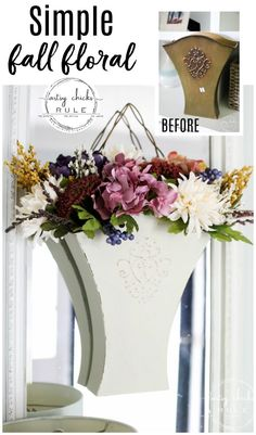 What better way to say goodbye to summer and hello to beautiful and colorful fall than with this thrift store makeover and colorful fall floral bucket? Thrift Store Crafts, Thrift Stores, Pumpkin Centerpieces, Little Falls, Floral Foam, Vintage Tins, Fall Flowers, Fall Pumpkins, Fall Crafts