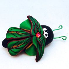 Green LEAF Bug Brooch - Handmade from Polymer Clay Millefiori Canes by KatersAcres