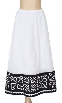 White Chocolate Patchwork Embroidered Maxi Skirt XS