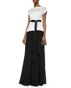 -5UX4 Rickie Freeman for Teri Jon Short-Sleeve Belted Lace Top & Ruffle Draped Maxi Skirt