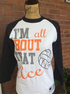 All About That Ace Volleyball Shirt Personalized by SweetTeesbyWRC Volleyball Shirt Designs, Volleyball Gear, Volleyball Outfits, Volleyball Quotes, Coaching Volleyball, Volleyball Players, Spirit Shirts, Sports Mom, Football Shirts