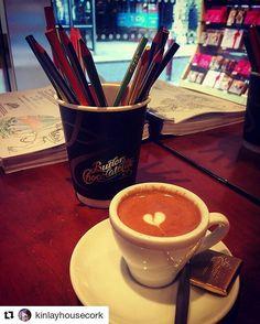 #Repost @kinlayhousecork with @repostapp  Monday Motivation - coffee & colouring books!  #Mindfulness #create #mantra #Mandalas #ArtTherapy #stressrelief #colouringbooks #heart #pencils #MondayMotivation #ButfirstCoffee #coffee #espresso #Machiato #chocolate #KinlayHouseCork #hostel #wanderlust #passionpassport #visitCork #loveIreland