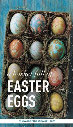 A Basket Full of Easter Eggs | Martha Stewart Living - The symbolism of the Easter egg is simple: It celebrates new life. This year, get egg-centric with your baskets by filling them with egg-themed treats, fancily decorated eggs, and all the tools you need for a fun-filled Sunday of dyeing and decorating.