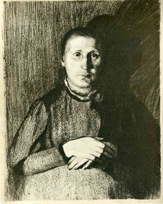 Pregnant woman with folded hands (1898-1899) by Kathe Kollwitz.