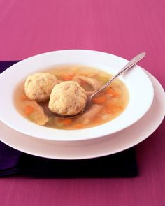 Thirty minutes' prep time is all that's needed for a glorious pot of steaming matzo ball soup. This recipe includes a chicken leg for maximum flavor. Make a large batch to reheat for a quick lunch or supper.