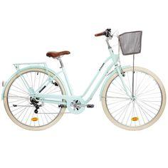 15 - Radfahren - Elops 520 Step Over Classic Bike - Mint - Cool Must-Haves - Mackerel Velo Retro, Velo Vintage, Vintage Bikes, Nordic Walking, Judo, Taekwondo, Jiu Jitsu, American Football, Nantucket Bike Basket