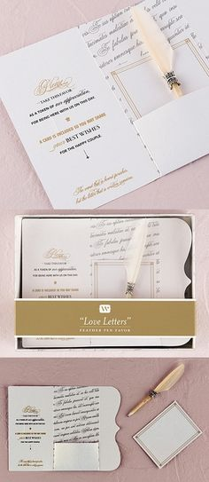 Love Letters Feather Pen Favors