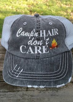 1c31015e918 Camp n Hair Dont Care Embroidered Trucker Hat by on Etsy