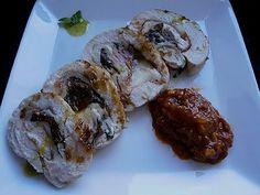 COCINA CON VISTAS: Pavo relleno de Jamón, mozzarella, albahaca y toma...
